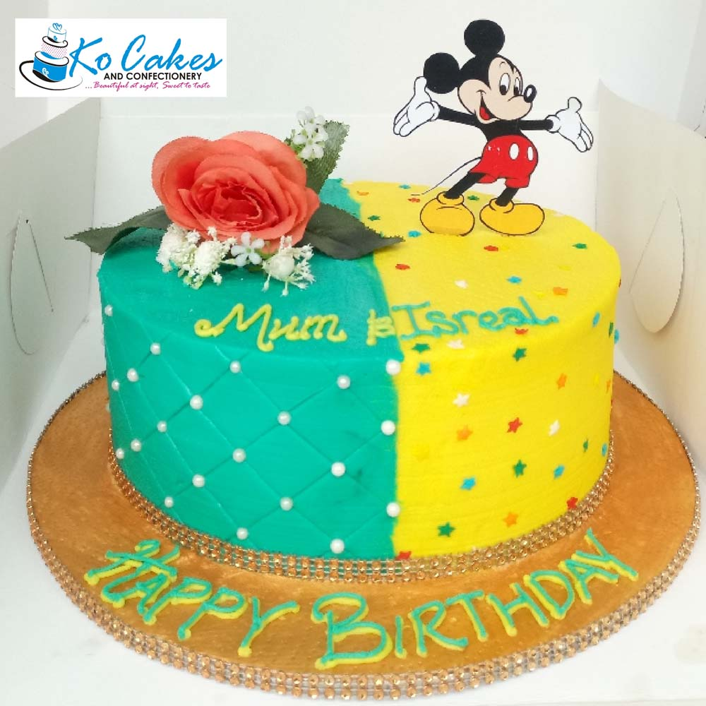 Tremendous Colorful Mickey Mouse Birthday Cake Ko Cakes Confectionery Funny Birthday Cards Online Fluifree Goldxyz
