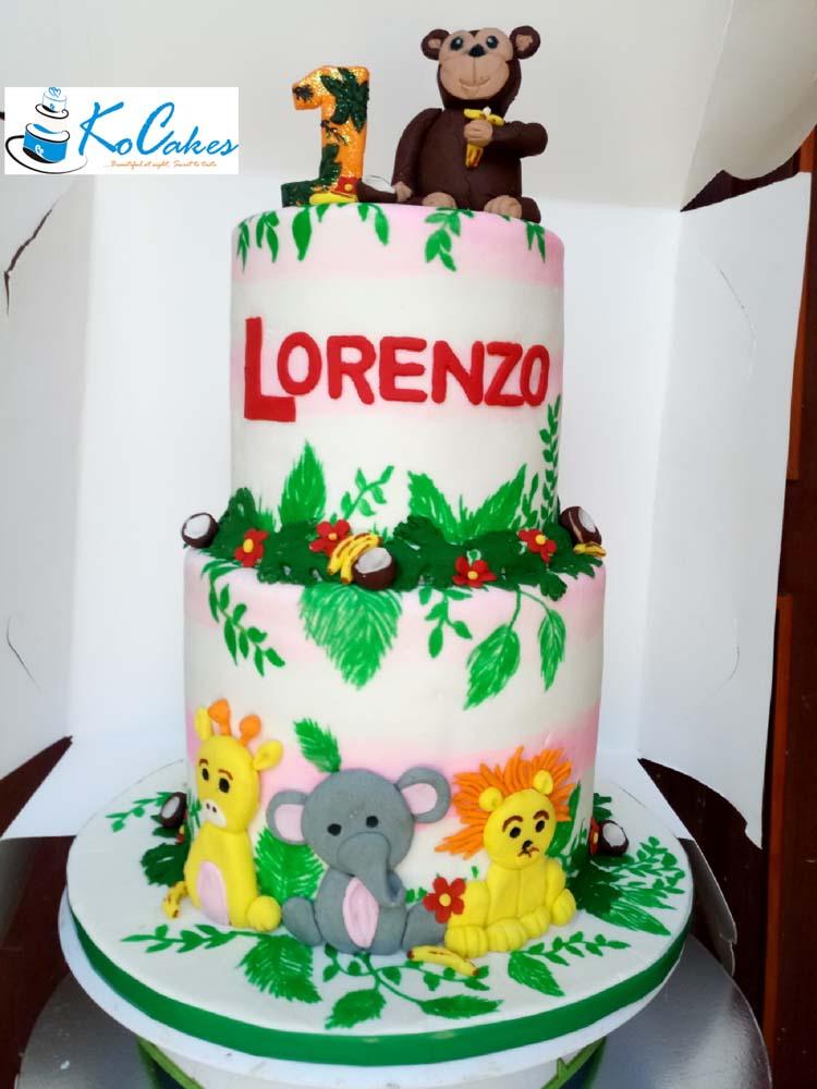 Swell Jungle Themed Birthday Cake Ko Cakes Confectionery Funny Birthday Cards Online Inifodamsfinfo